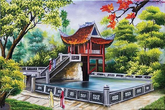 Tranh vẽ chùa một cột
